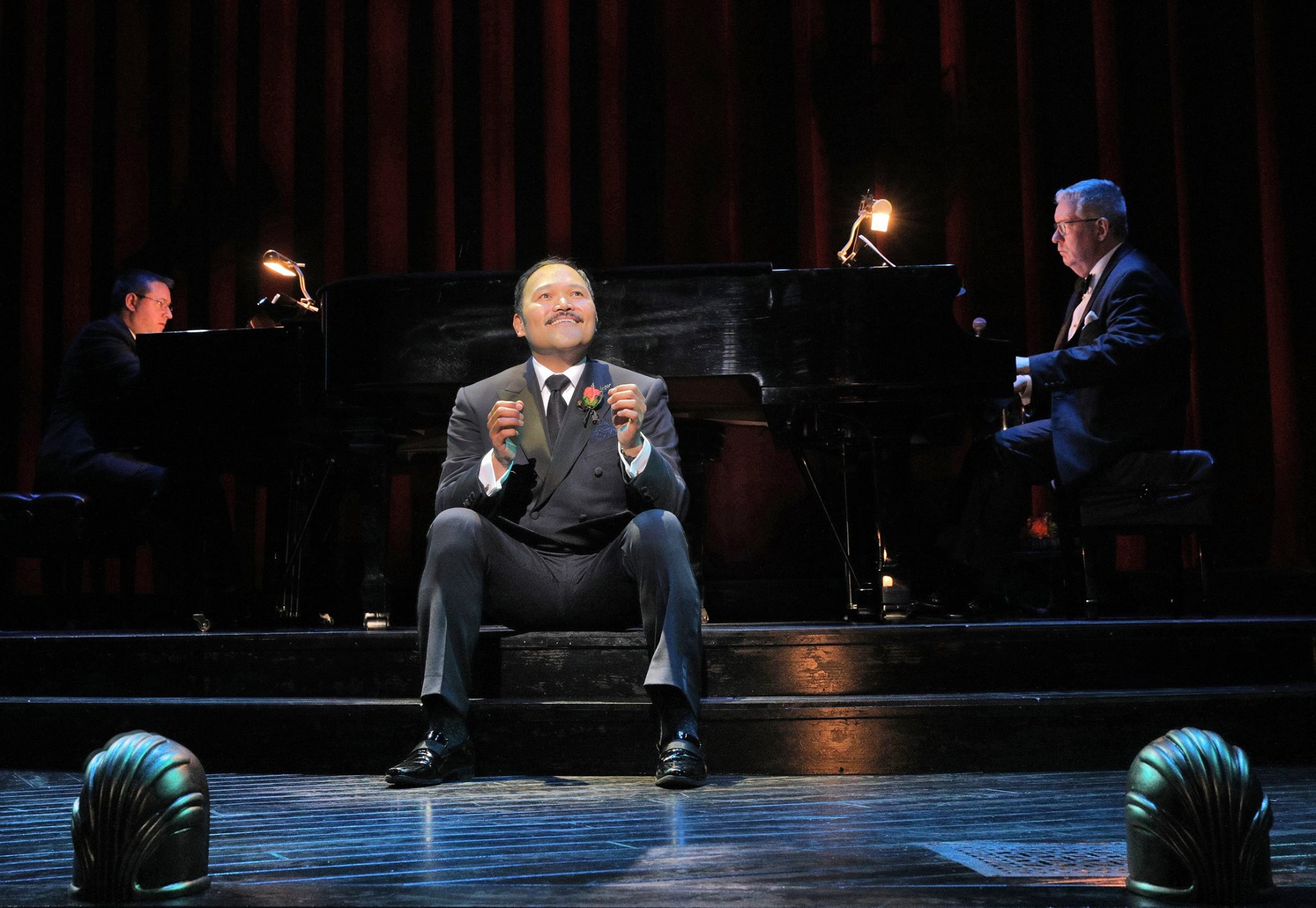 Orville Mendoza playing the 'hero' in Side by Side by Sondheim at Kansas City Repertory Theatre. Photo by Cory Weaver