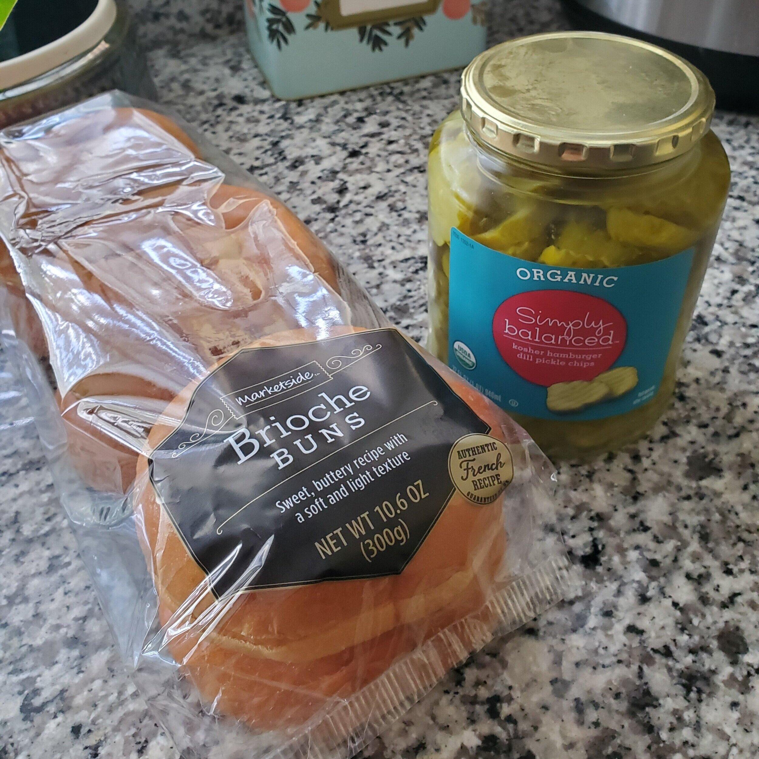 Brioche buns and dill pickle chips