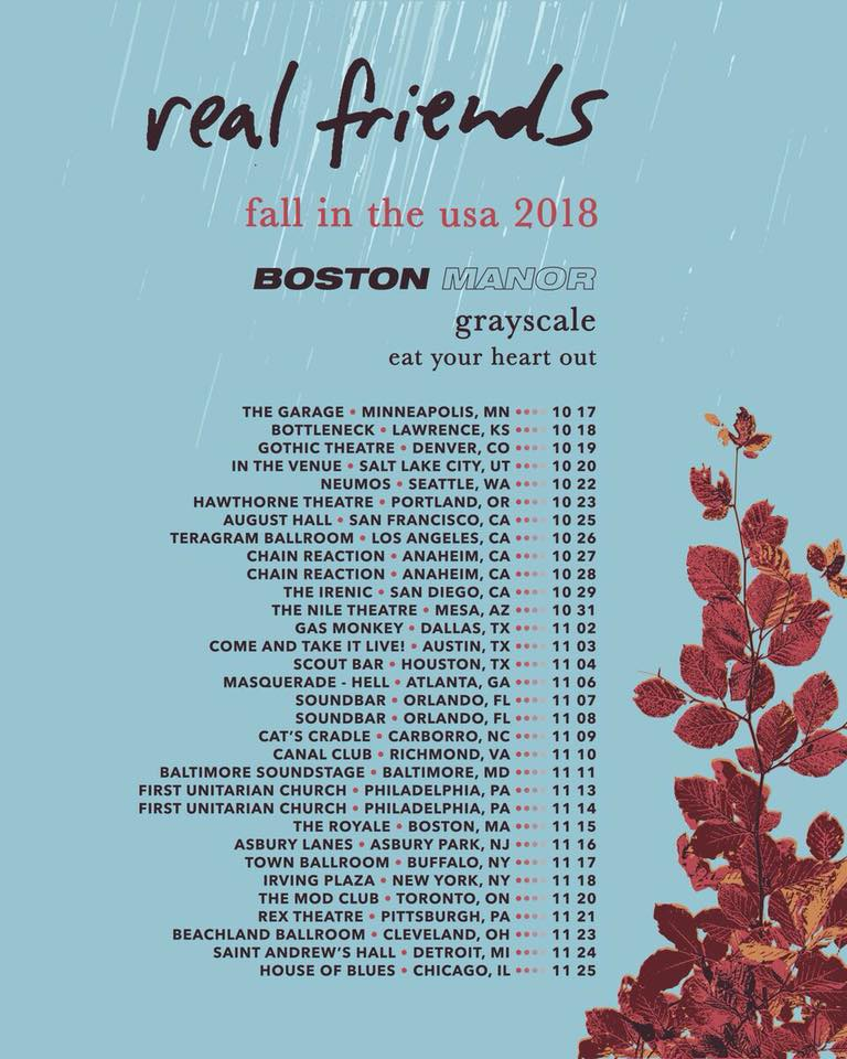 Real Friends 'fall in the USA 2018' Tour Poster