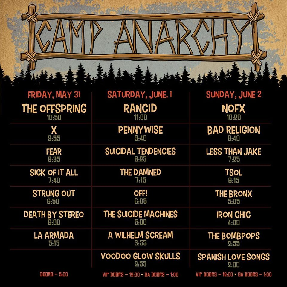 Camp Anarchy 2019 Schedule