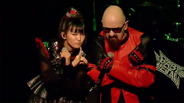 Babymetal and Judas Priest from Planetrock ( https://www.planetrock.com/news/rock-news/watch-rob-halford-sings-painkiller-and-breaking-the-law-with-babymetal/ )