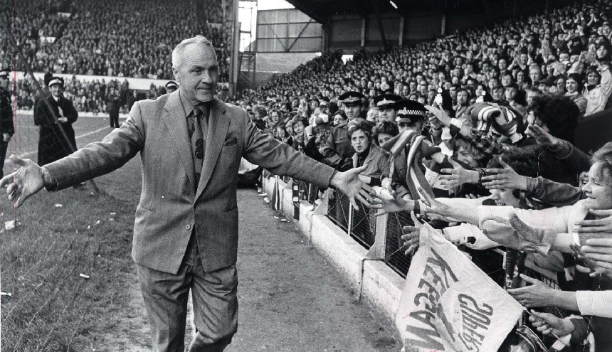 Bill Shankly with the Liverpool Supporters