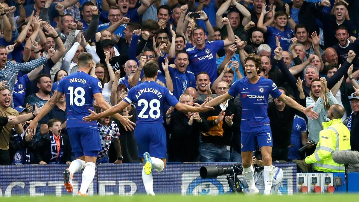Alonso celebrates after scoring the winner against Arsenal in their 3-2 victory earlier this season.