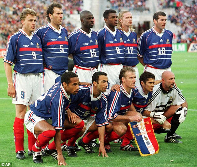 The 1998 French squad sporting one of the greatest international jerseys of all time.
