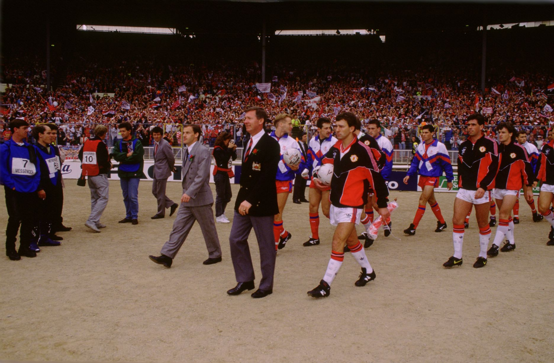 Sir Alex Ferguson leads his squad onto the pitch at Wembley for the 1990 FA Cup Final - the match that saved his career.