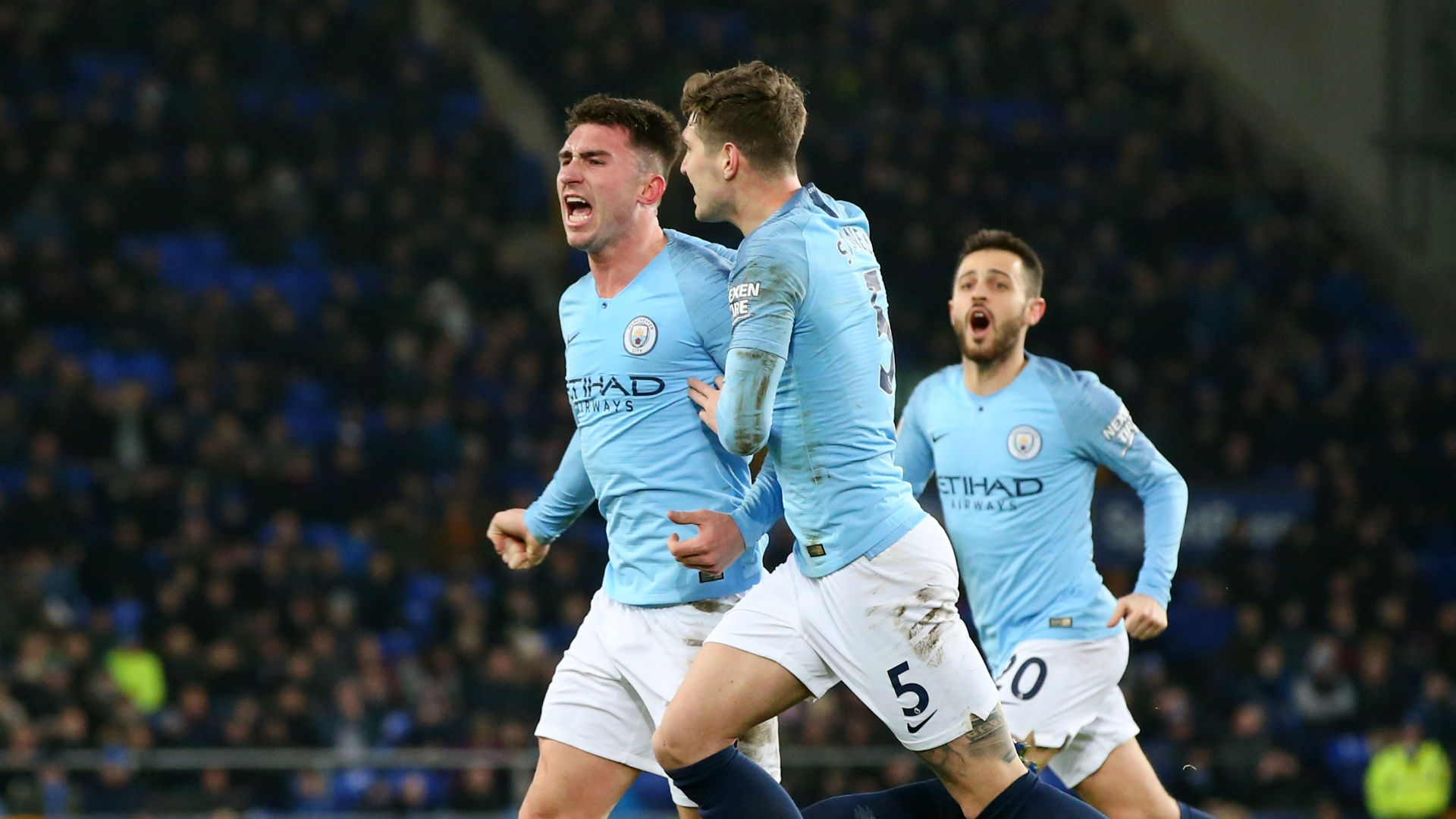 Laporte celebrates his stunning header that gave City the lead against Everton in midweek.