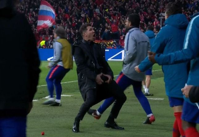 Simeone's questionable celebration.