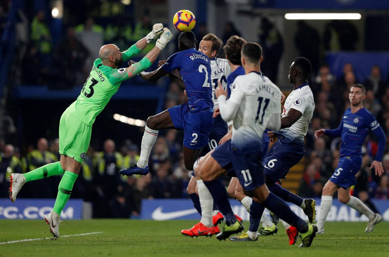 A rare moment of action for Caballero against Spurs.