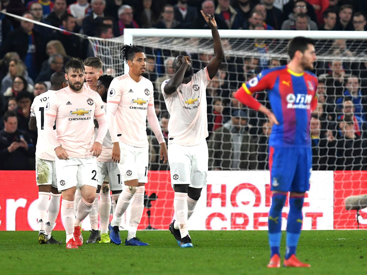 Lukaku celebrates one of his two goals against Palace in midweek.