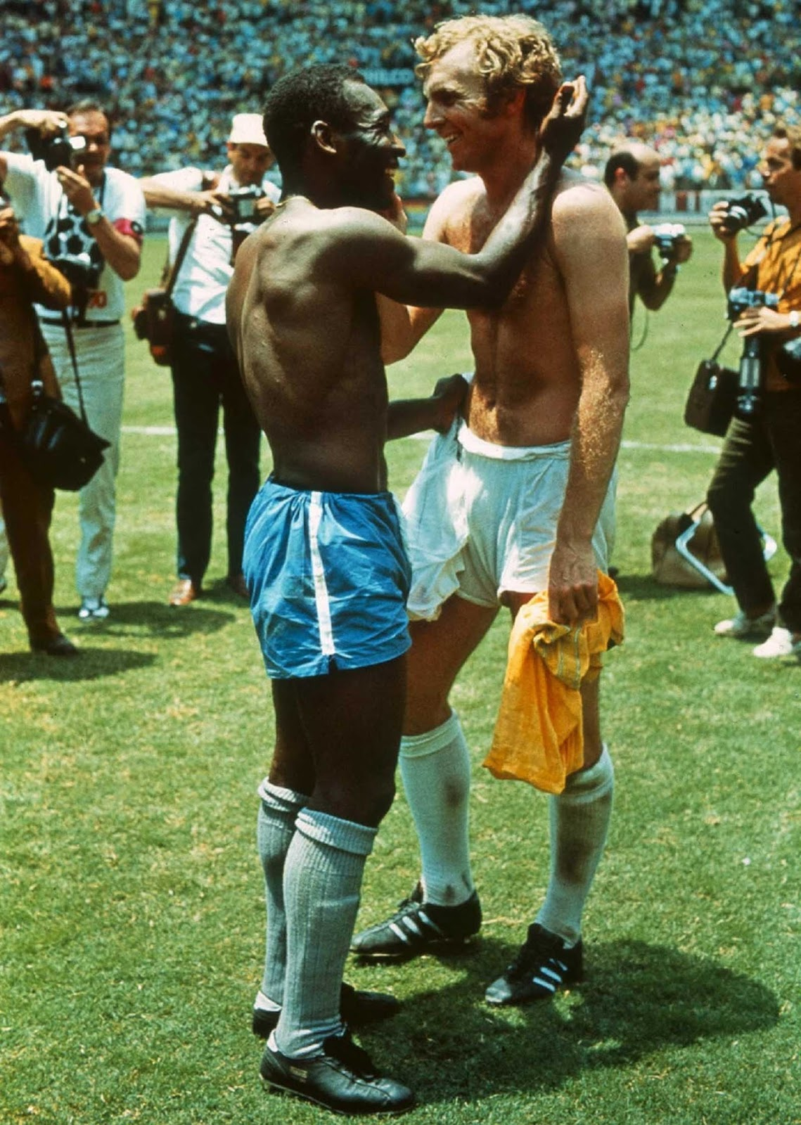 Pele and Bobby Moore Swap Jerseys After the Match