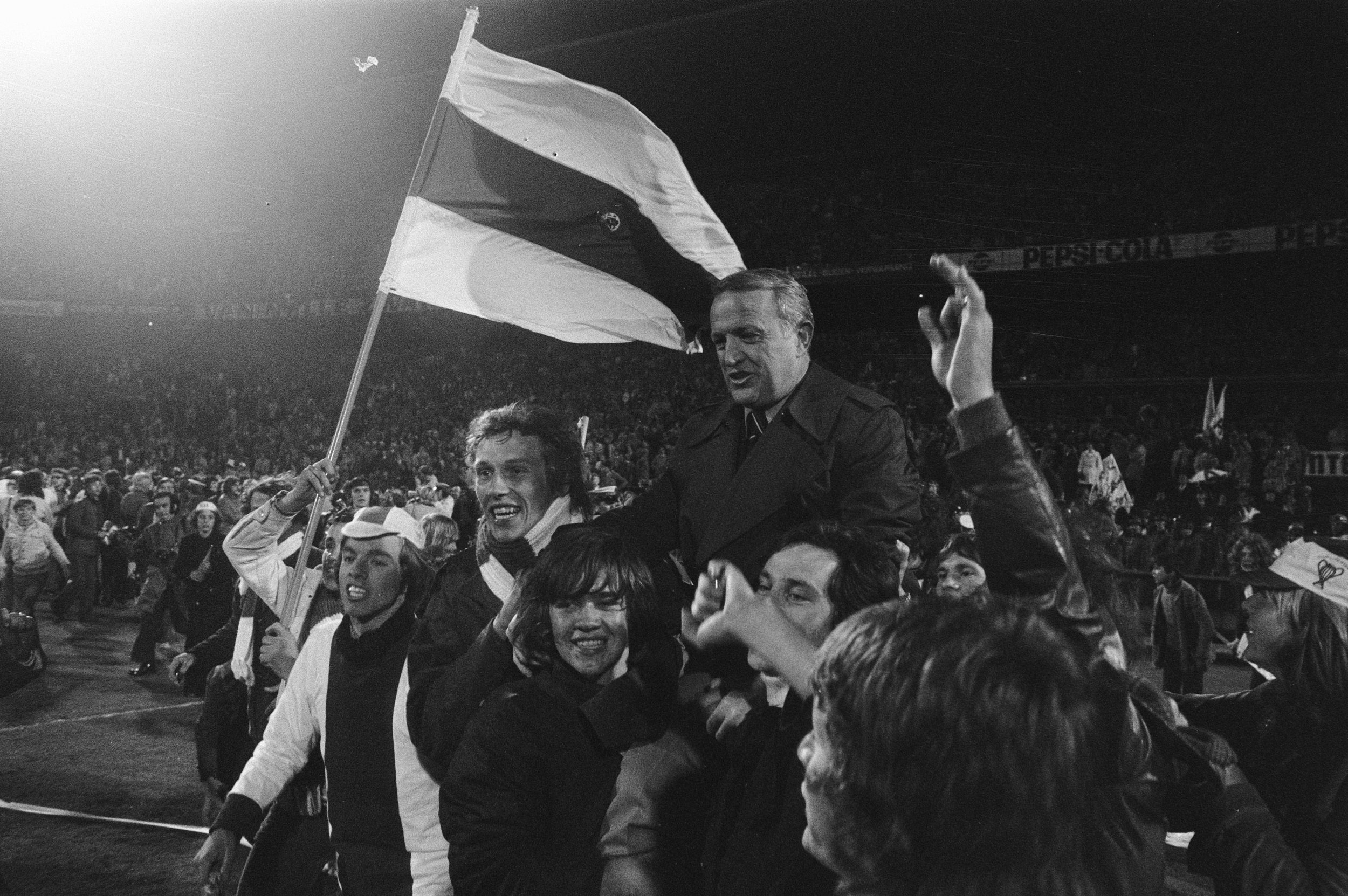 Kovacs hoisted up by Ajax fans in 1972.