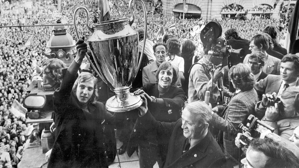 Ajax present their European Cup  in 1971.