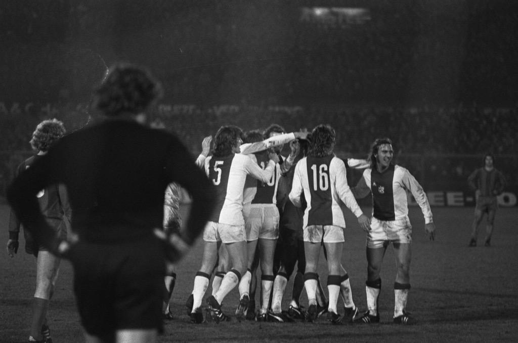 Ajax celebrate a goal against Bayern Munich