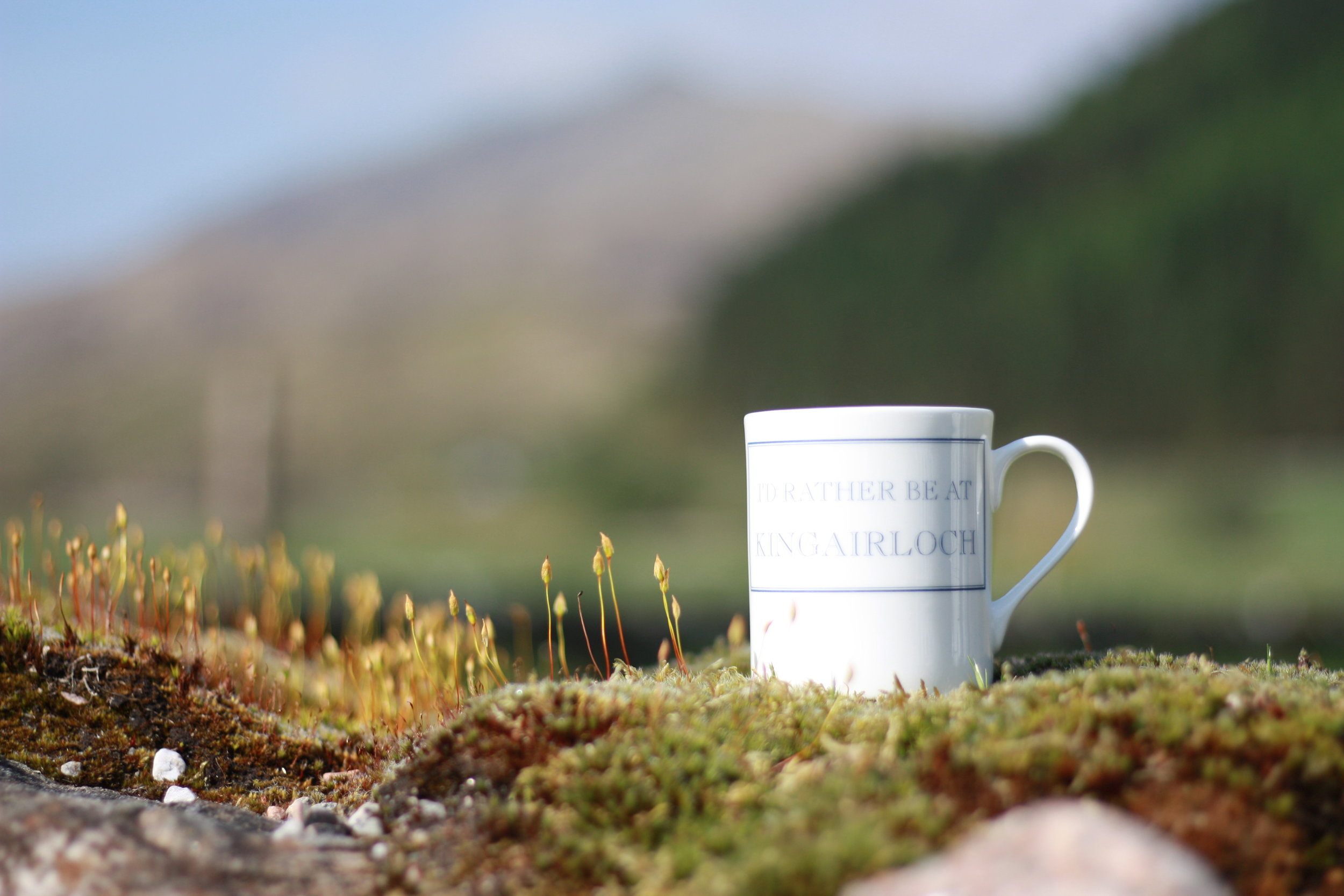 The Steadings has cute mugs that say 'I'd rather be at Kingairloch'. Obvi I bought one.