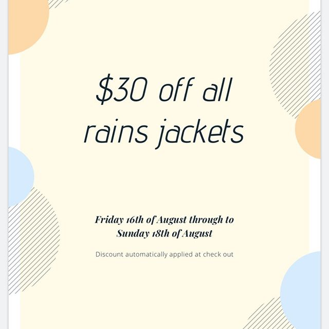 What perfect timing with this delicious rainfall! $30 off all Rains Jacket.  Discount automatically applied at checkout 💃