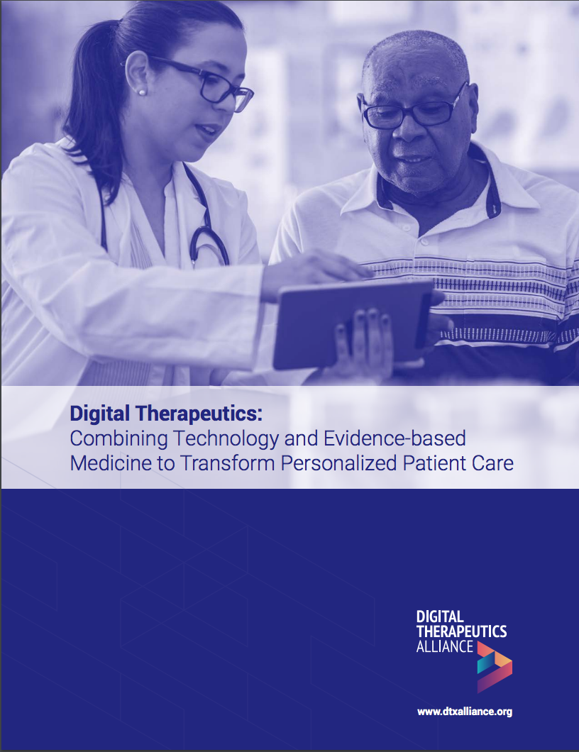 """""""Digital Therapeutics: Combining Technology and Evidence-based Medicine to Transform Personalized Patient Care"""" - DTA's comprehensive report, provides an overview of the DTx industry and establishes the definition of a digital therapeutic. Core principles and best practices related to the design, manufacture, clinical validation, and regulatory oversight of these products are also featured. You can download the report here:https://www.dtxalliance.org/wp-content/uploads/2018/09/DTA-Report_DTx-Inf"""