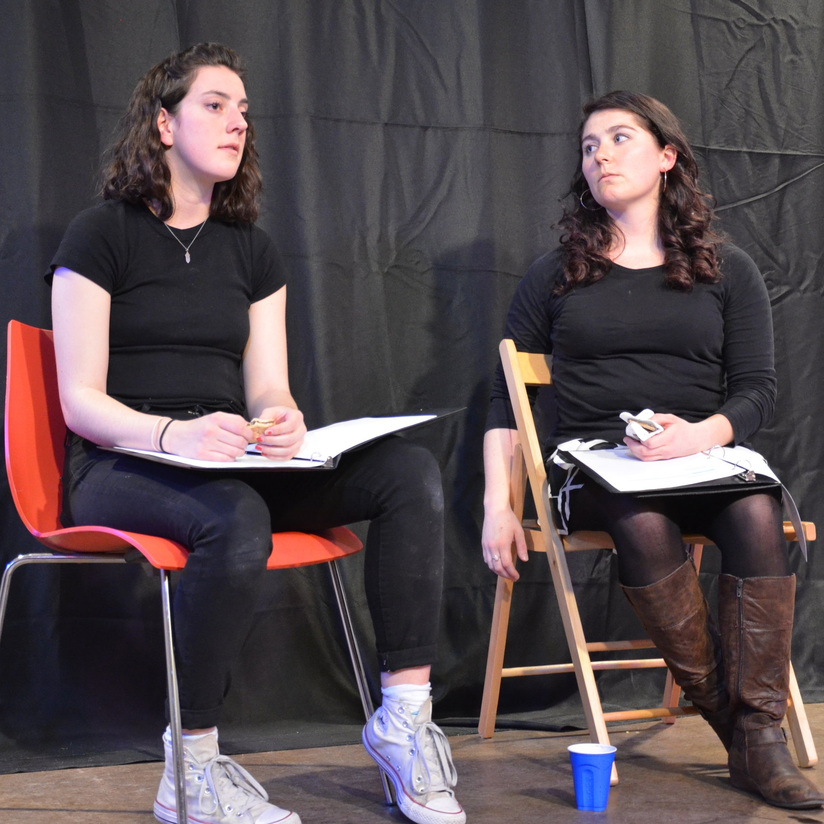 "Photo from a staged reading of ""The Irish Wake"" at SHE Creates. Lizzy Jarrett & Kelly Erickson pictured above."