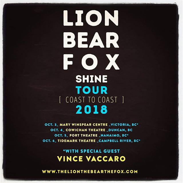 @lionbearfox is touring Vancouver Island in October. #Victoria #Sidney @marywinspearcentre with @vincevaccaromusic  #songwriters #harmonies #musicmakesme #feelgood #shine #love #accept #lionbearfox #shinetour2018