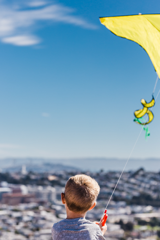back of five year old boy's head while he looks out over the city holding his kite {San Francisco lifestyle Family Photography}