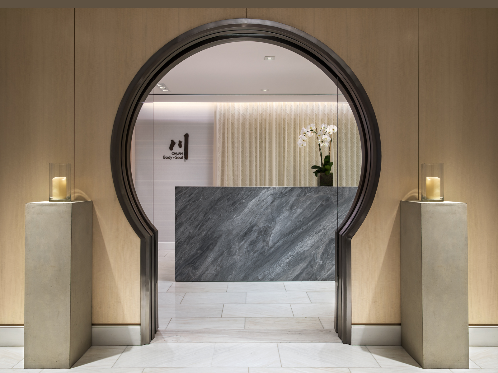 Chuan Body + Soul spa entrance at Langham Place, New York, Fifth Avenue.