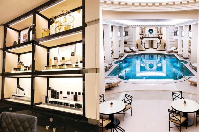 Left: the Chanel au Ritz Paris consultation room. Photo by SunHee Grinnell. Right: the refurbished Art-Deco Ritz Paris swimming pool. Photo courtesy of Chanel.
