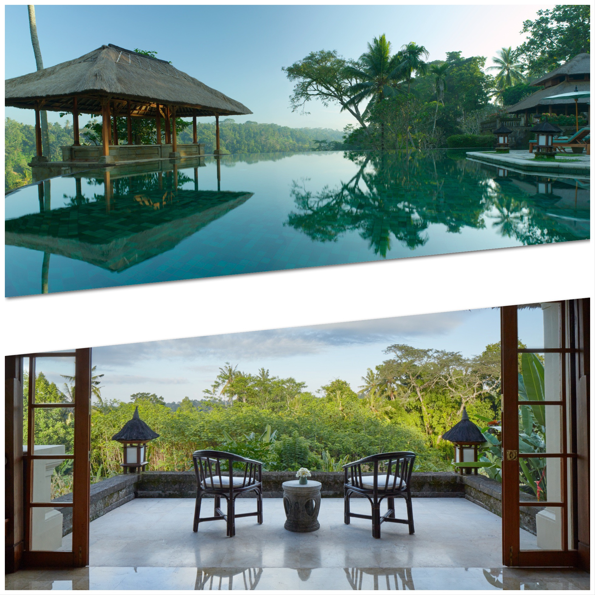 Top, swimming pool and bottom, a view from a suite, both in Amandari, Bali.
