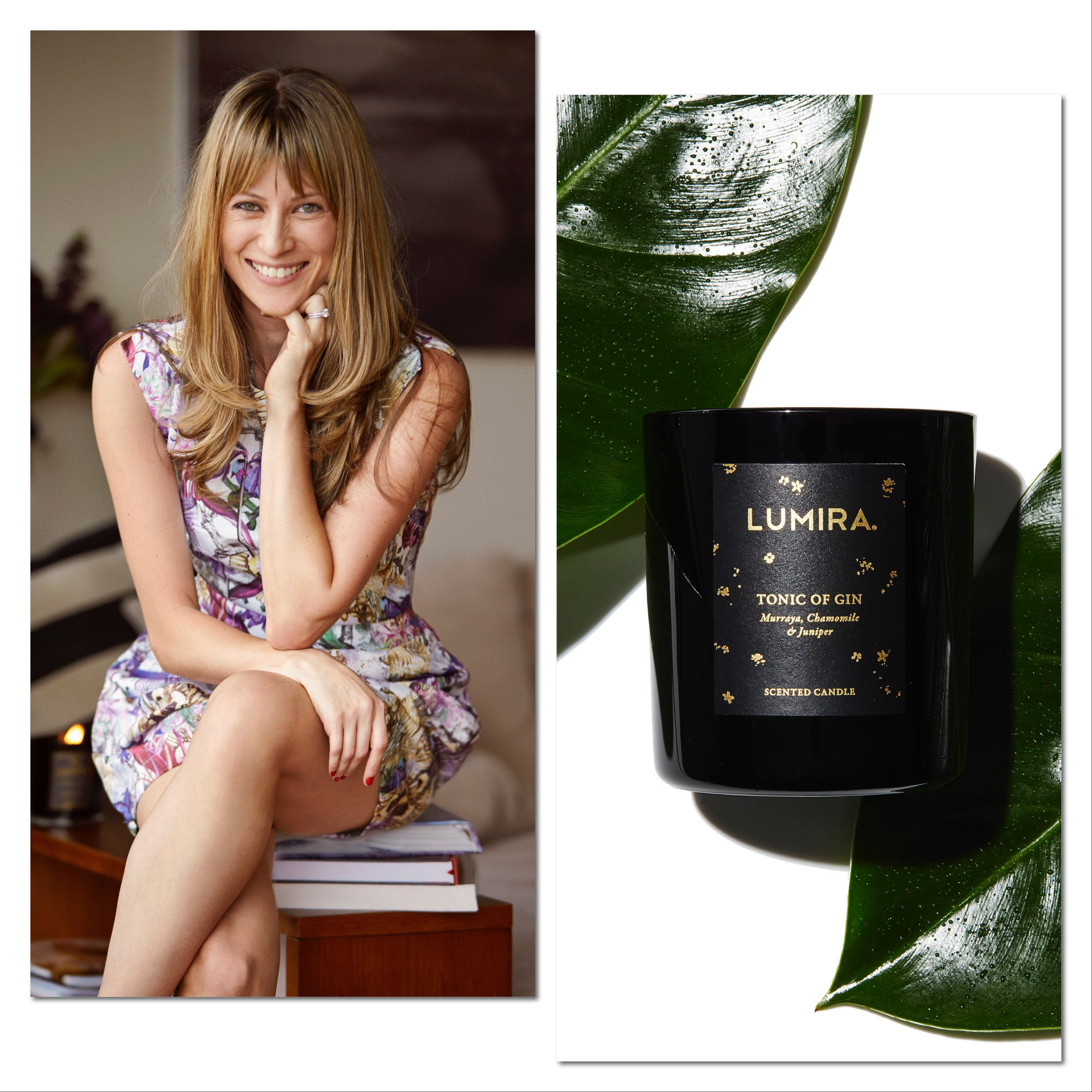 Almira Armstrong, Founder and CEO of Lumira; new to the collection, Tonic of Gin candle.