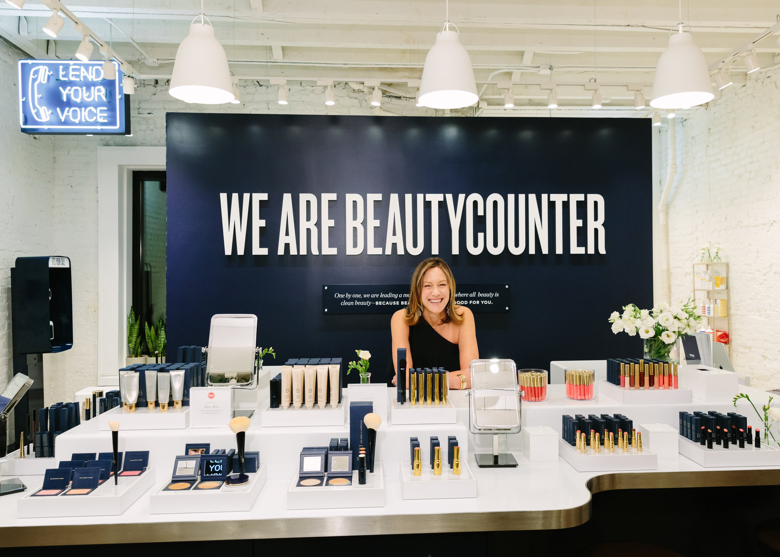 Gregg Renfrew, Founder and C.E.O. of Beautycounter at her new store in Soho, N.Y.C.  Photograph by Yvonne Tnt / BFA Image.