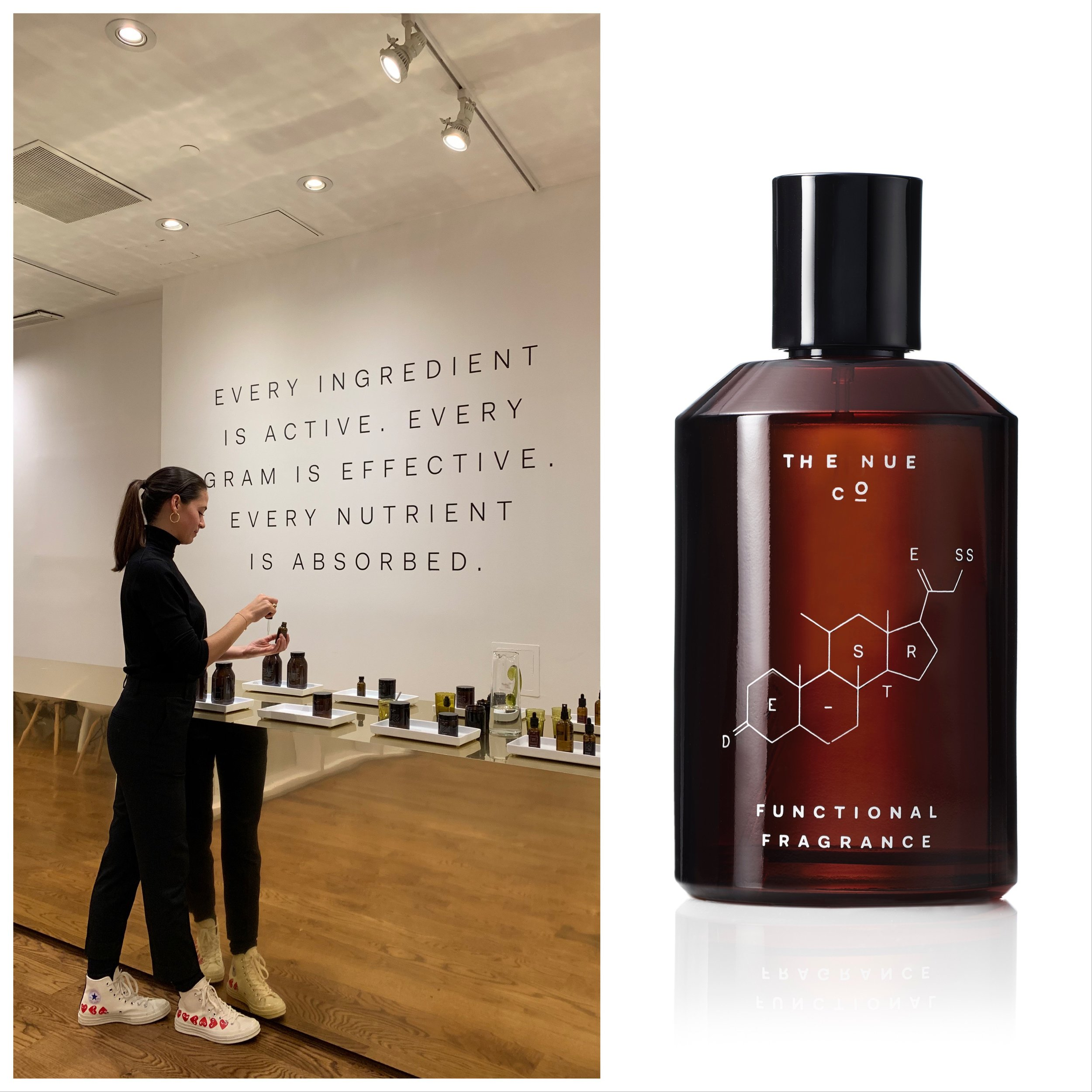 Founder of Nue Co, Jules Miller at her Soho store; Functional Fragrance