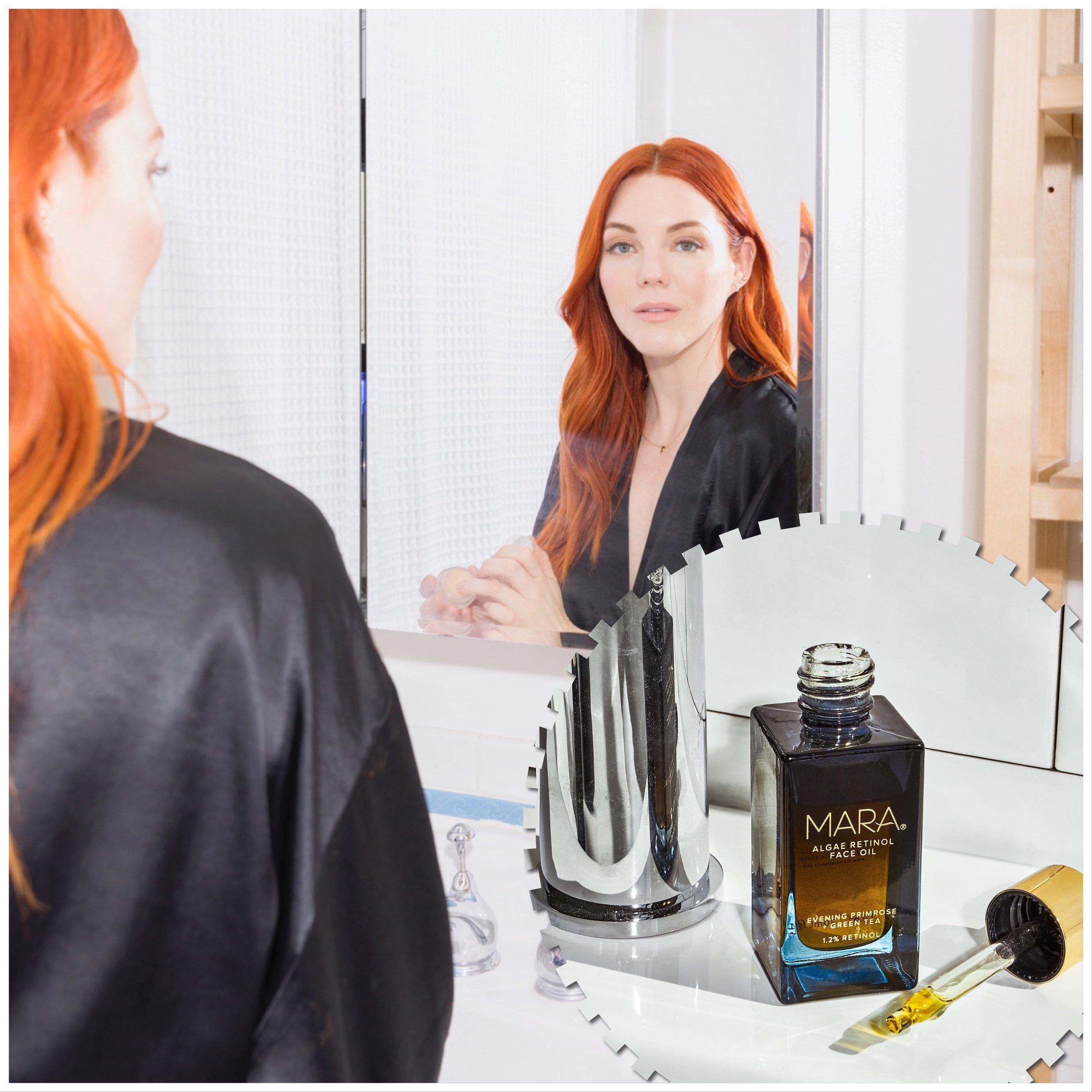 Allison McNamara and her latest addition to Mara beauty, Algae Retinol Face Oil.