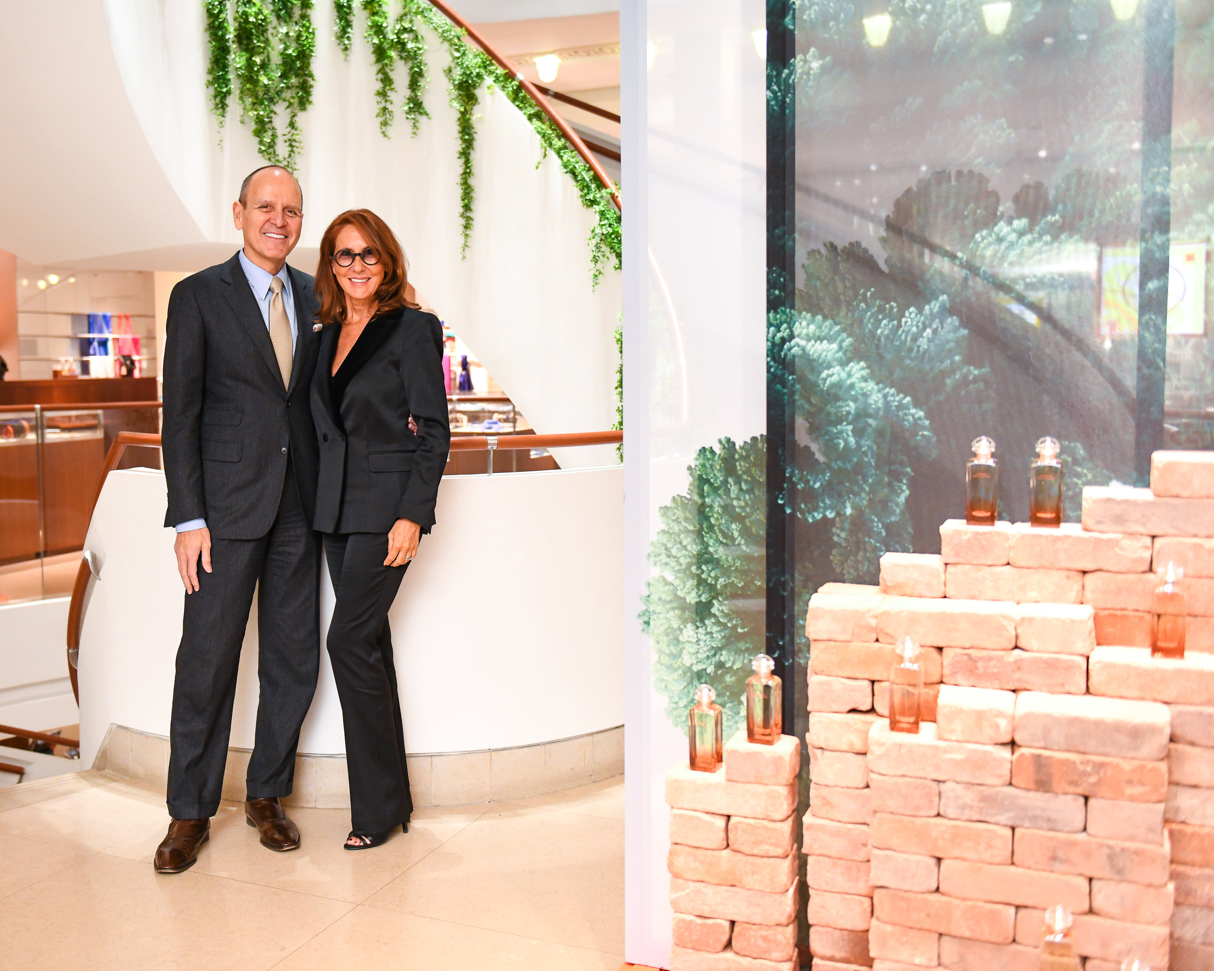 Robert Chavez, the U.S. President and CEO of Hermès, Paris, with perfumer Christine Nagel at the latest fragrance launch dinner at Hermès on Madison Avenue, N.Y.C. Portraits by BFA.