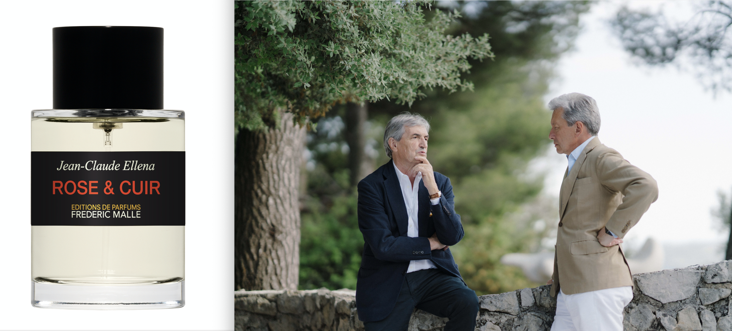 Latest from Editions de Parfums Frédéric Malle,  Rose & Cuir ; Ellena and Malle in Grasse, 2019.
