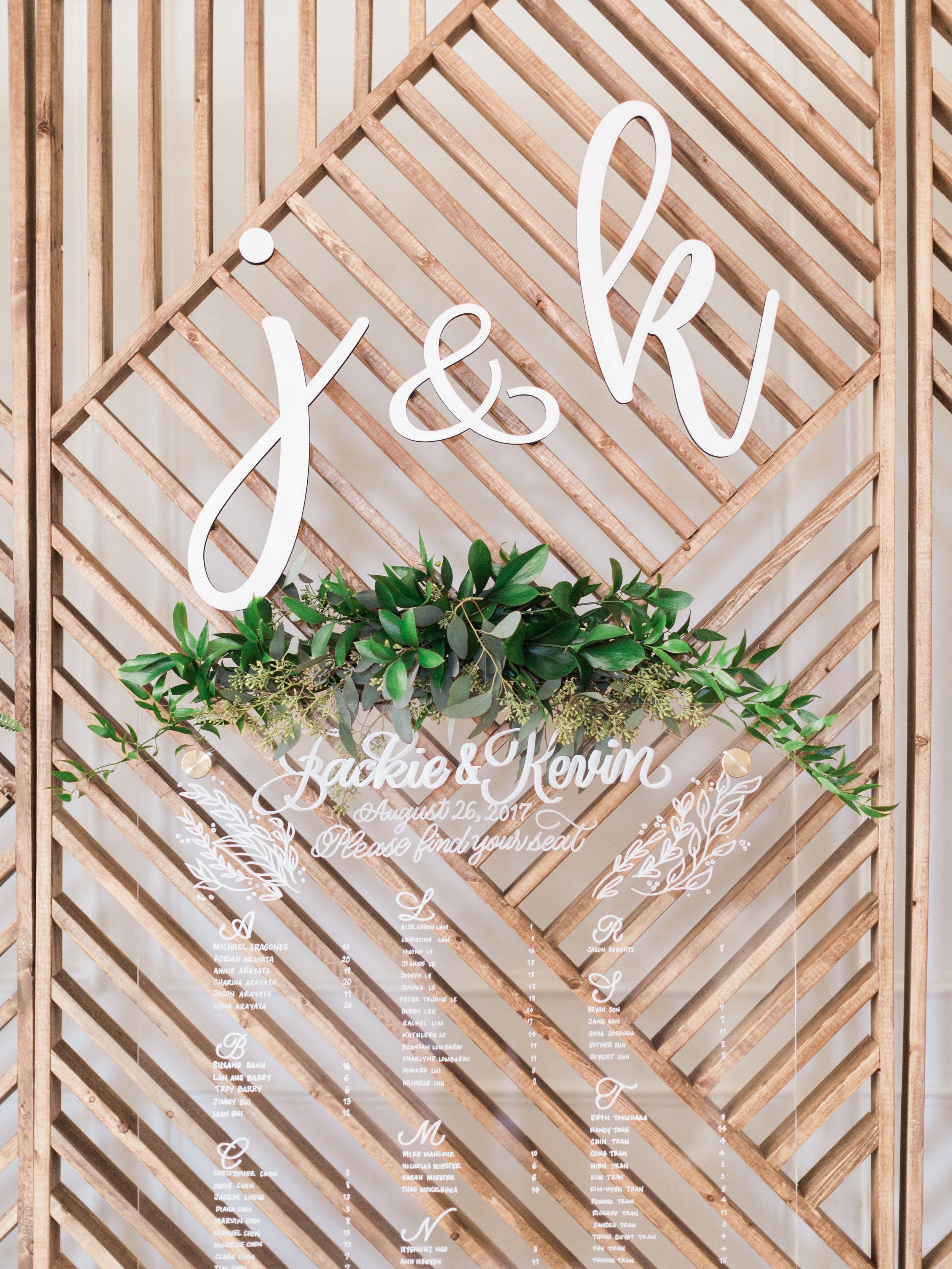 DIY Wedding Backdrop Seating Chart