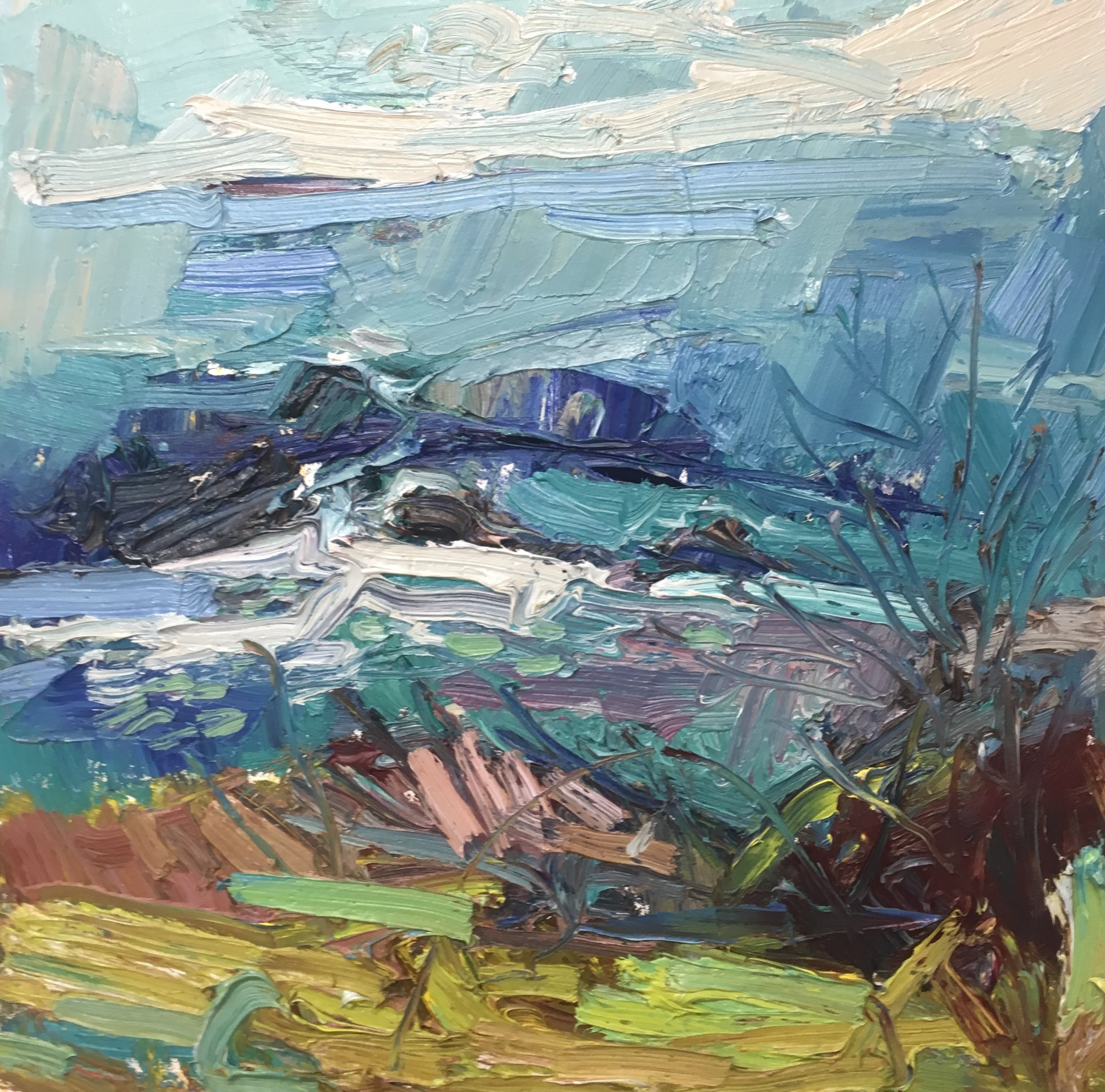 Cliff top greens  50-50cm oil £1650