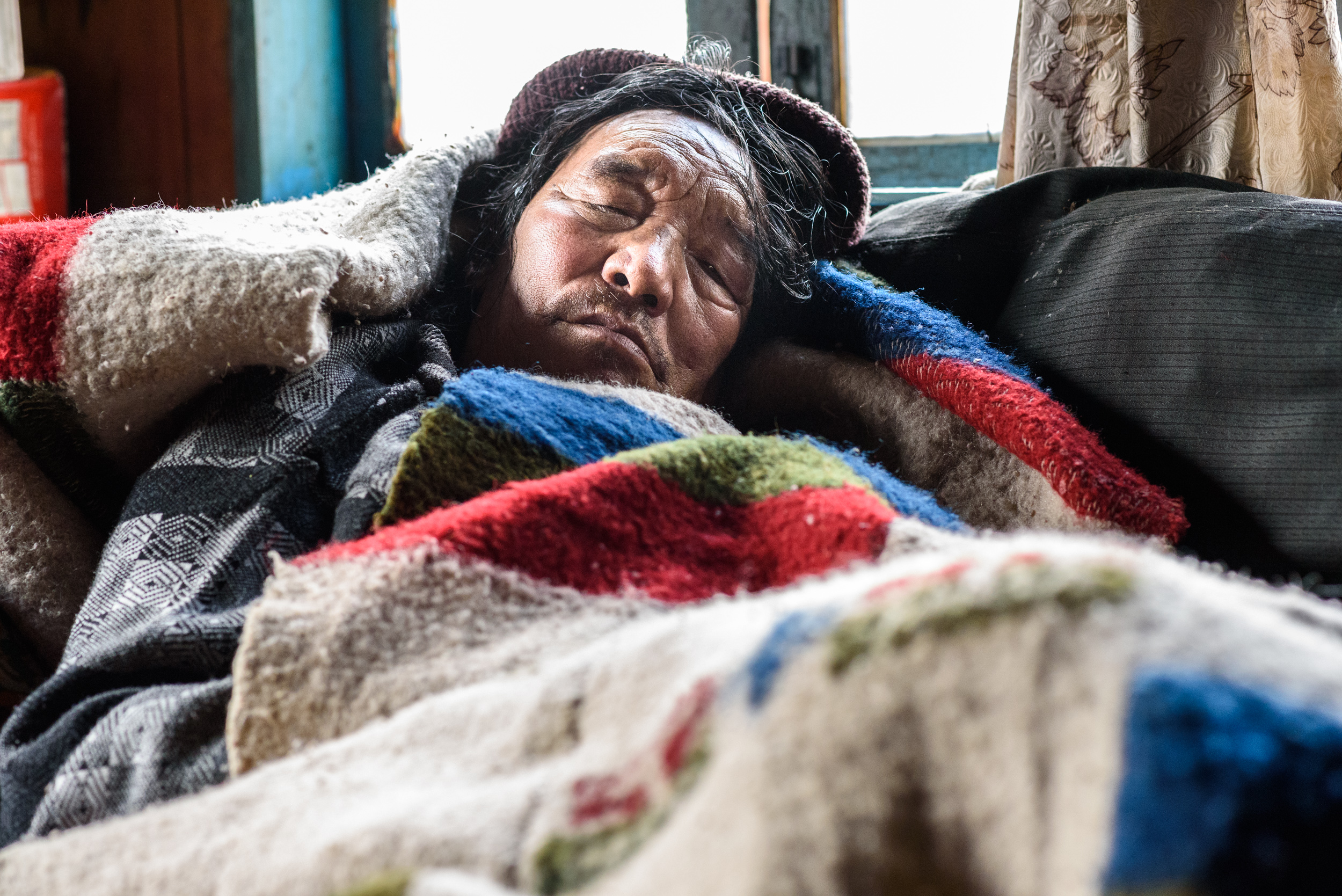 Tsering Galpo, in his sickbed in Thangu.