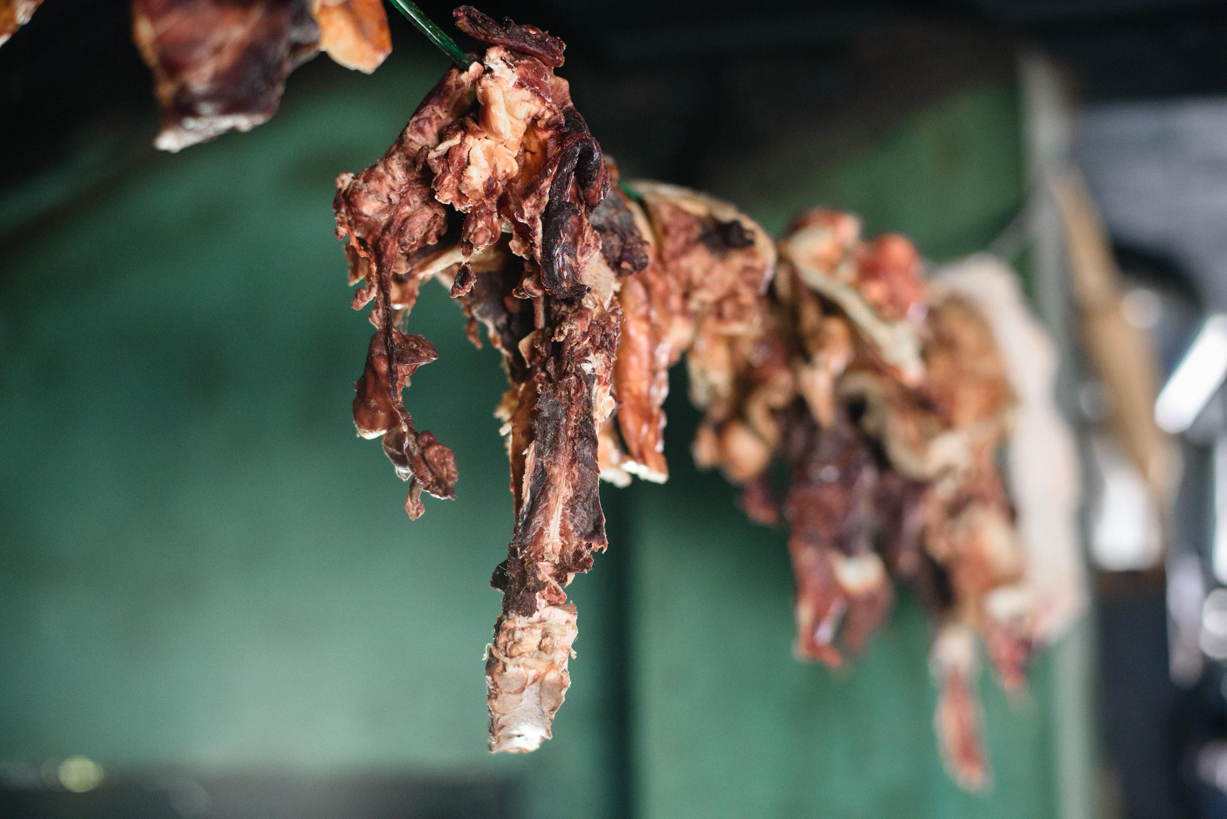 Yak meat, drying.