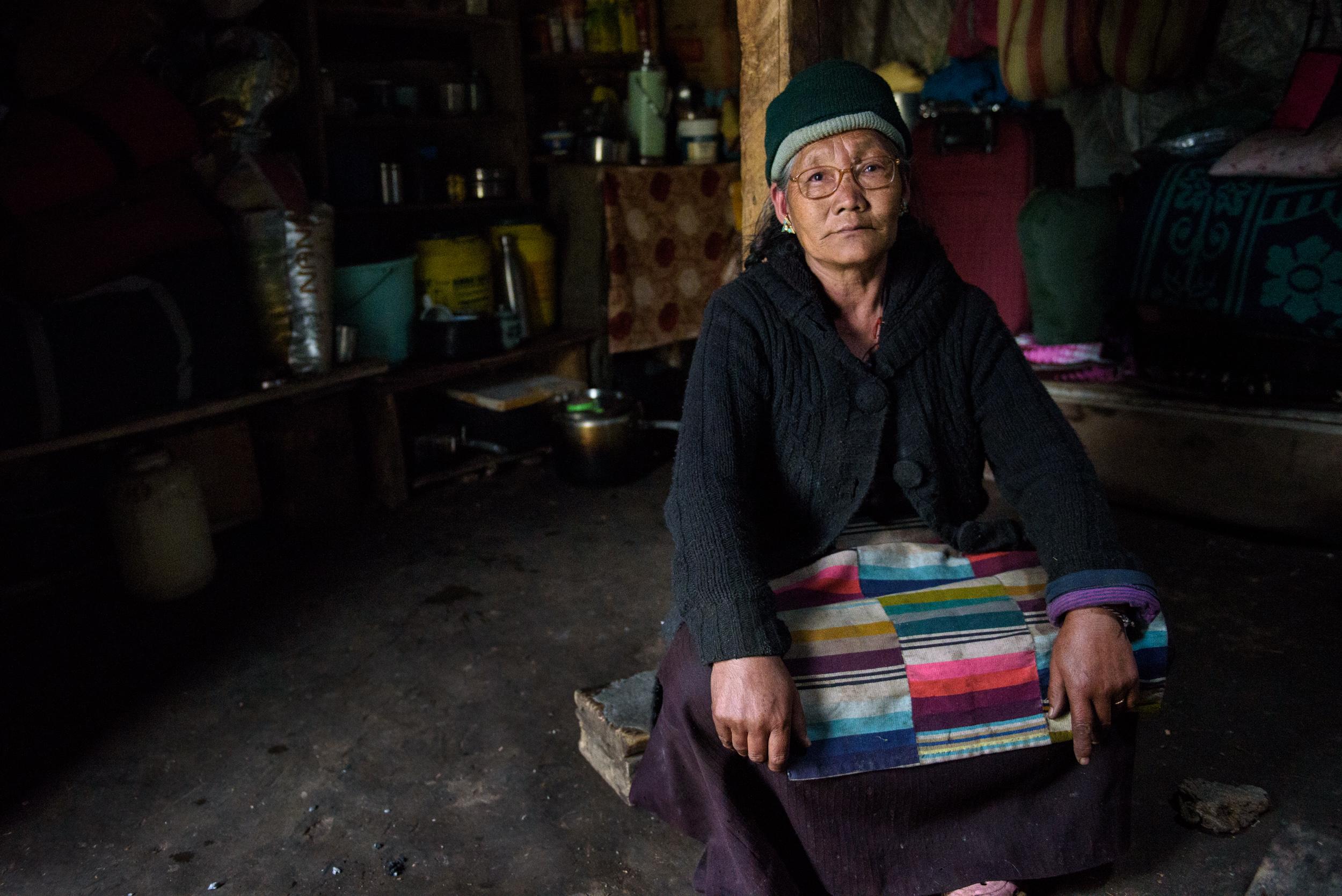 Pema Chorden in her hut at Yangdi, north of Thangu.