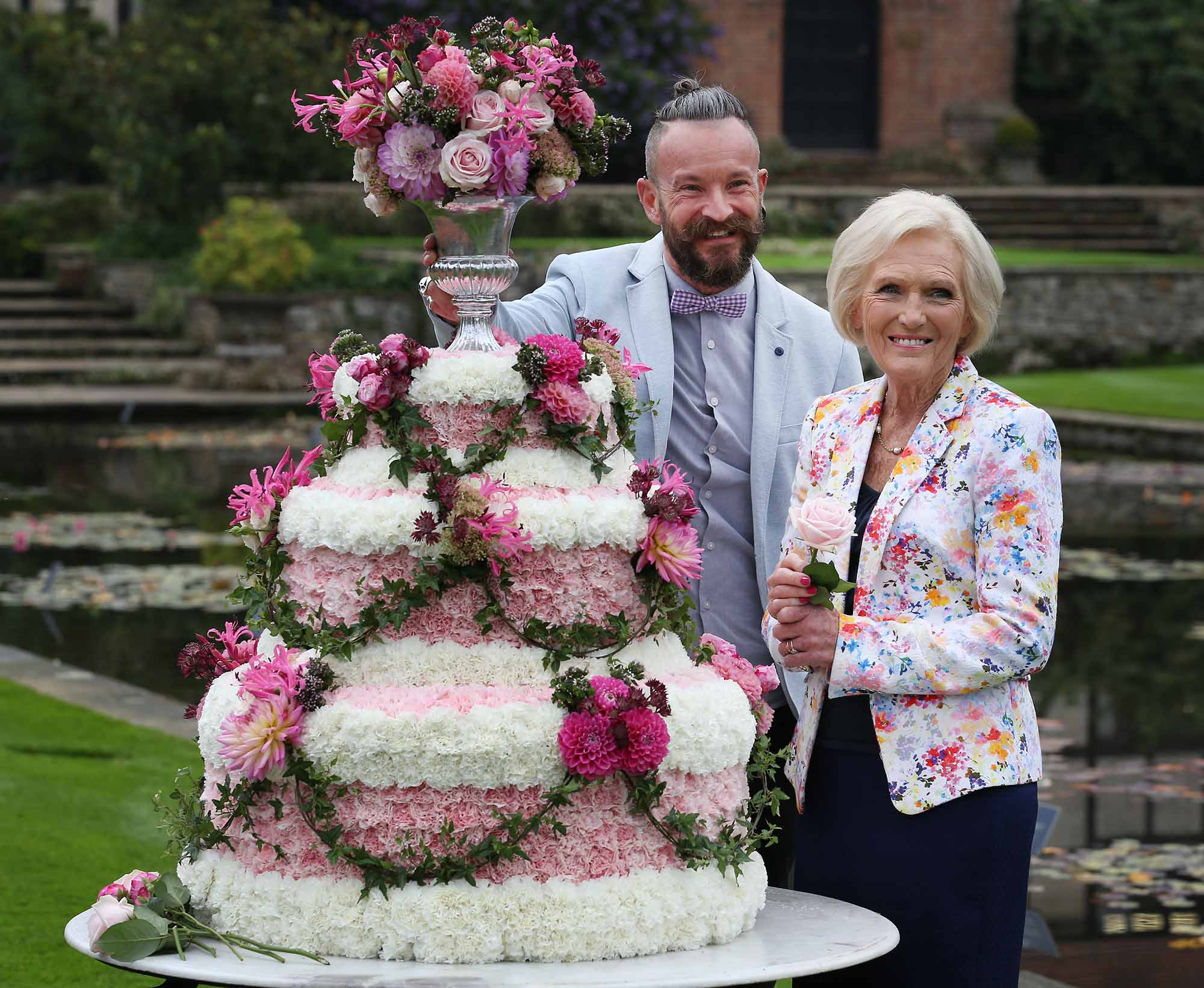 Simon with Mary Berry at the RHS Wisley Flower Show