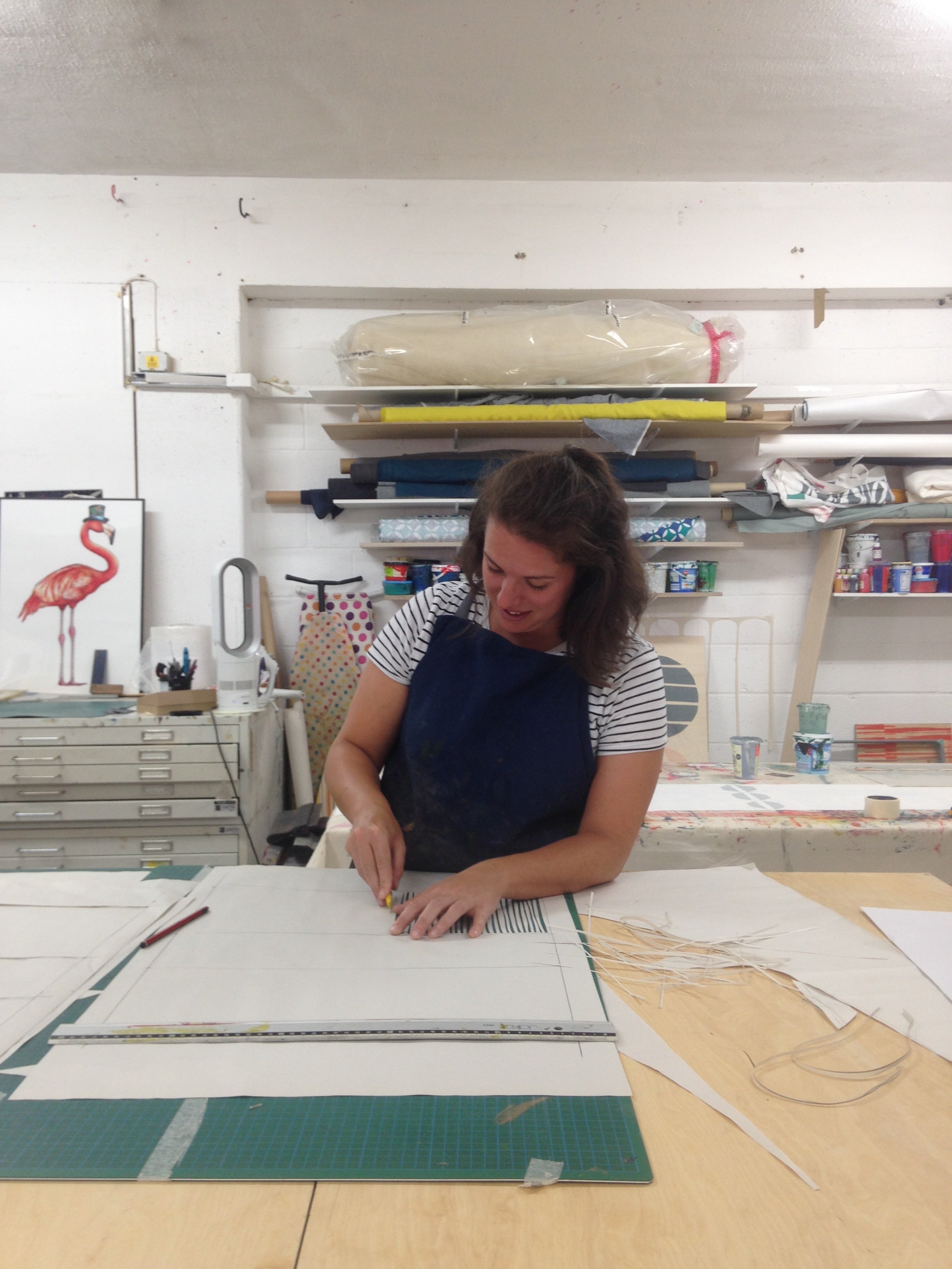 Here I am doing my favourite thing - cutting a paper stencil for a print sample. If I was allowed to only sample and never make a finished product again I would be so happy! I love the process but dread the final decision to take one idea forward and try and make some money from it. So if anyone wants to pay me to just play in my studio all day then get in touch!