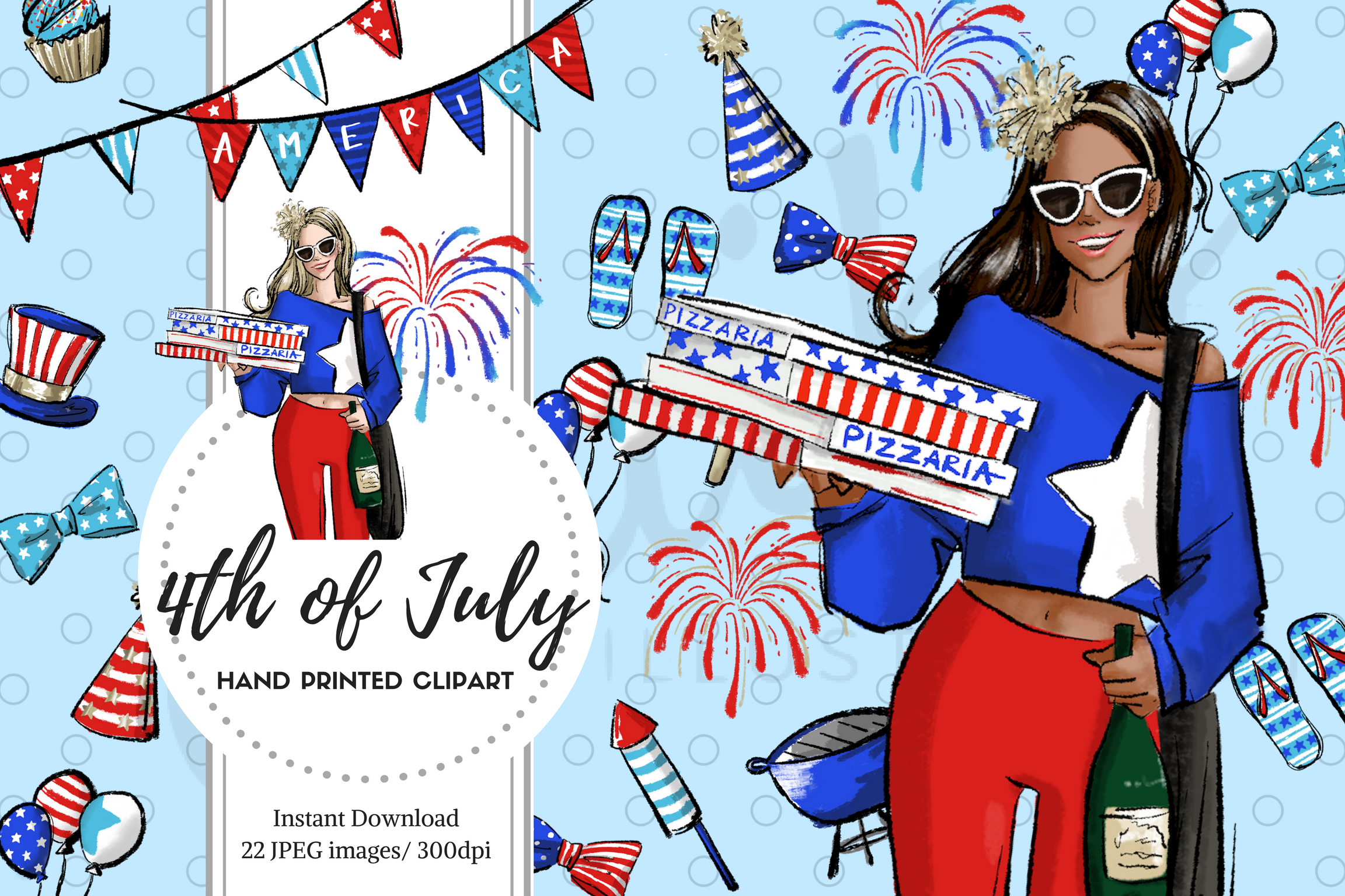 fashion illustrator maiko inagaki 4th of july