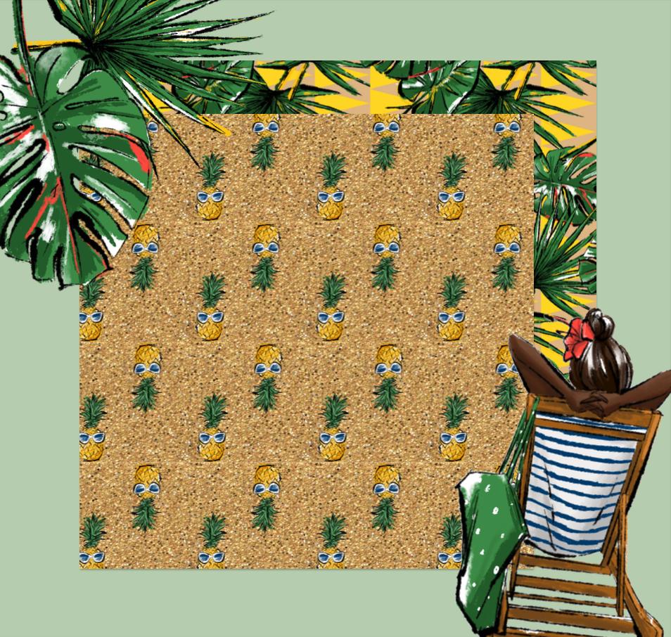 maiko illustration pineapples digital paper