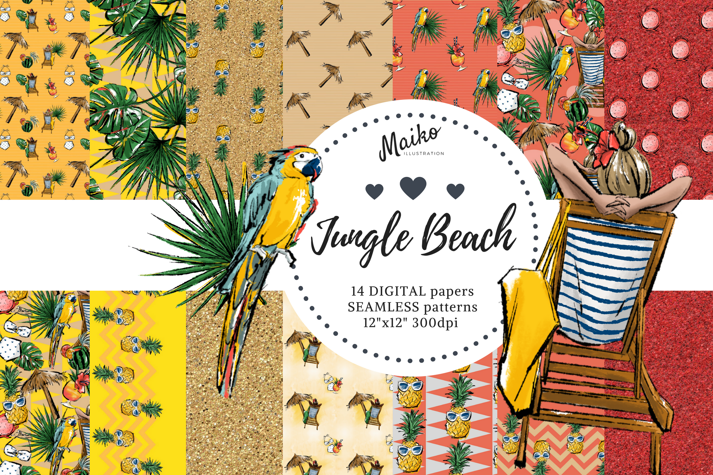 maiko illustration digital paper pinapple