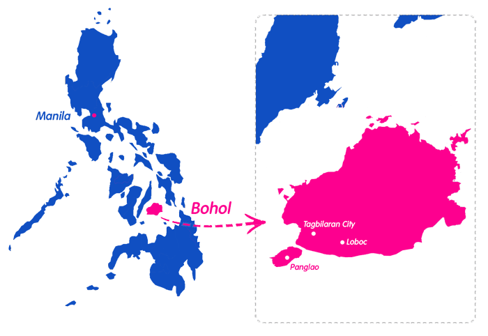Where is Bohol - Fly from Manila or Cebu or take the Ferry from Cebu to Tagbilarian