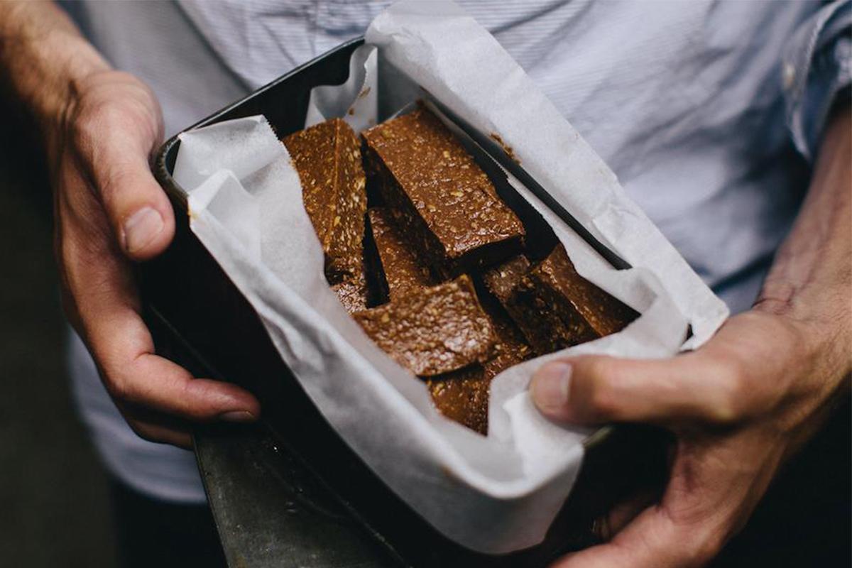 Chocolate peanut butter coconut slice