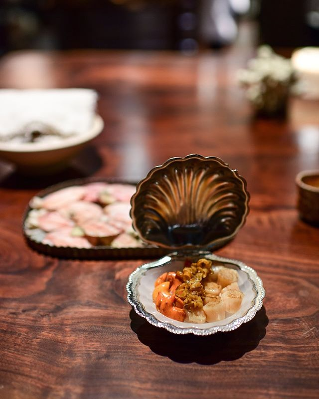 Little pink scallops: meat, skirts and roe. All grilled with wild jasmine butter
