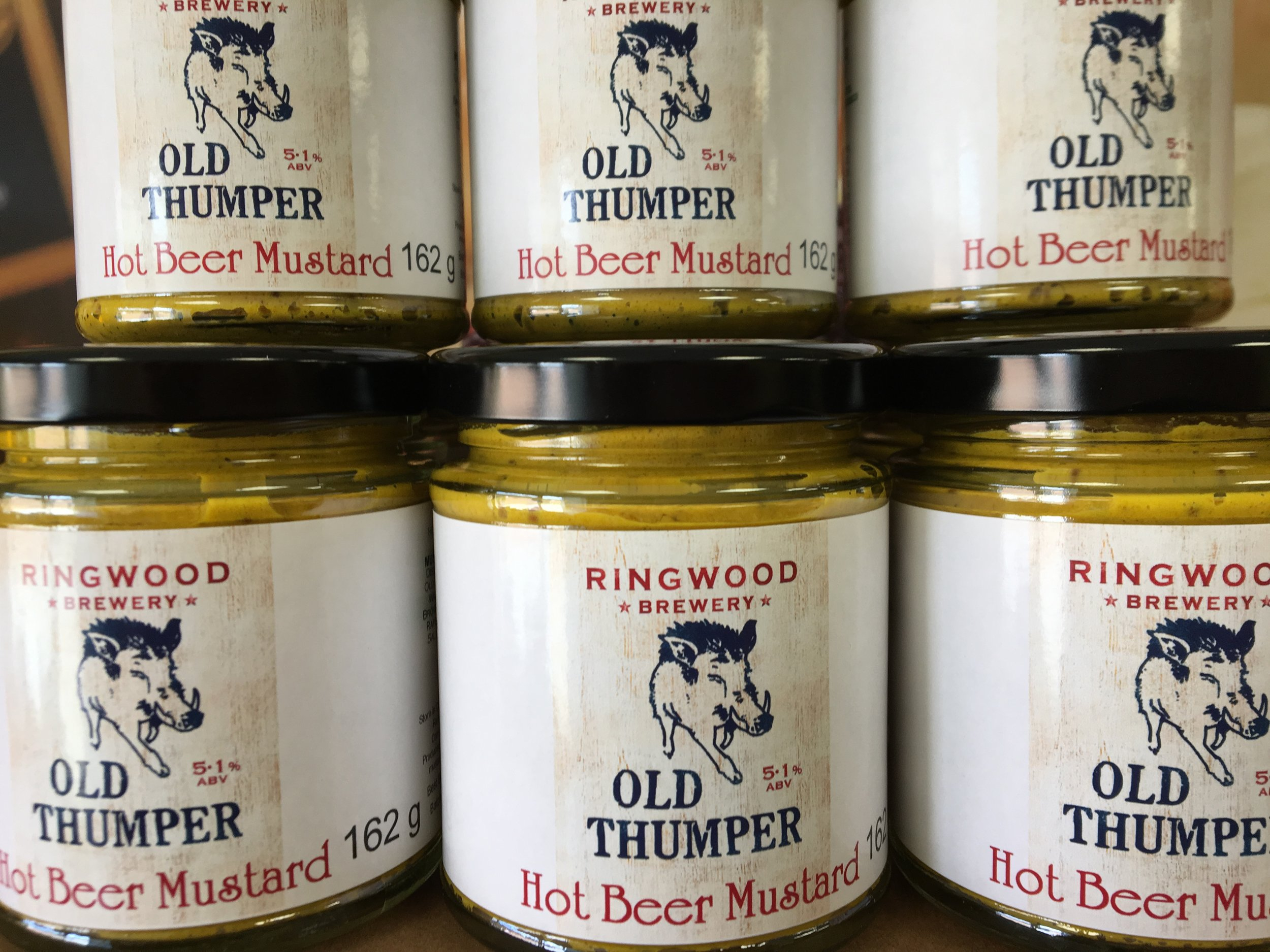 Add a jar of Old Thumper Hot Beer Mustard to your  hamper to spice things up a bit!  Contains 26% of Old Thumper ale