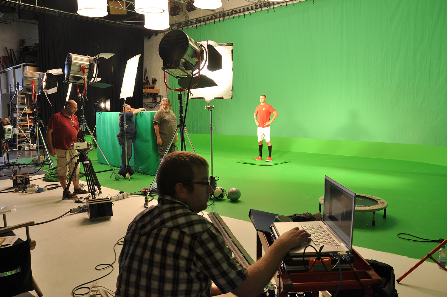 High speed camera filming against green screen.