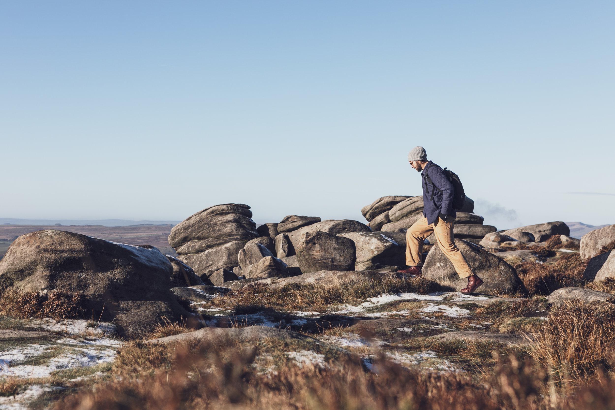 Shoe Maker from Sheffield walking on Burbage in the Peak District UK