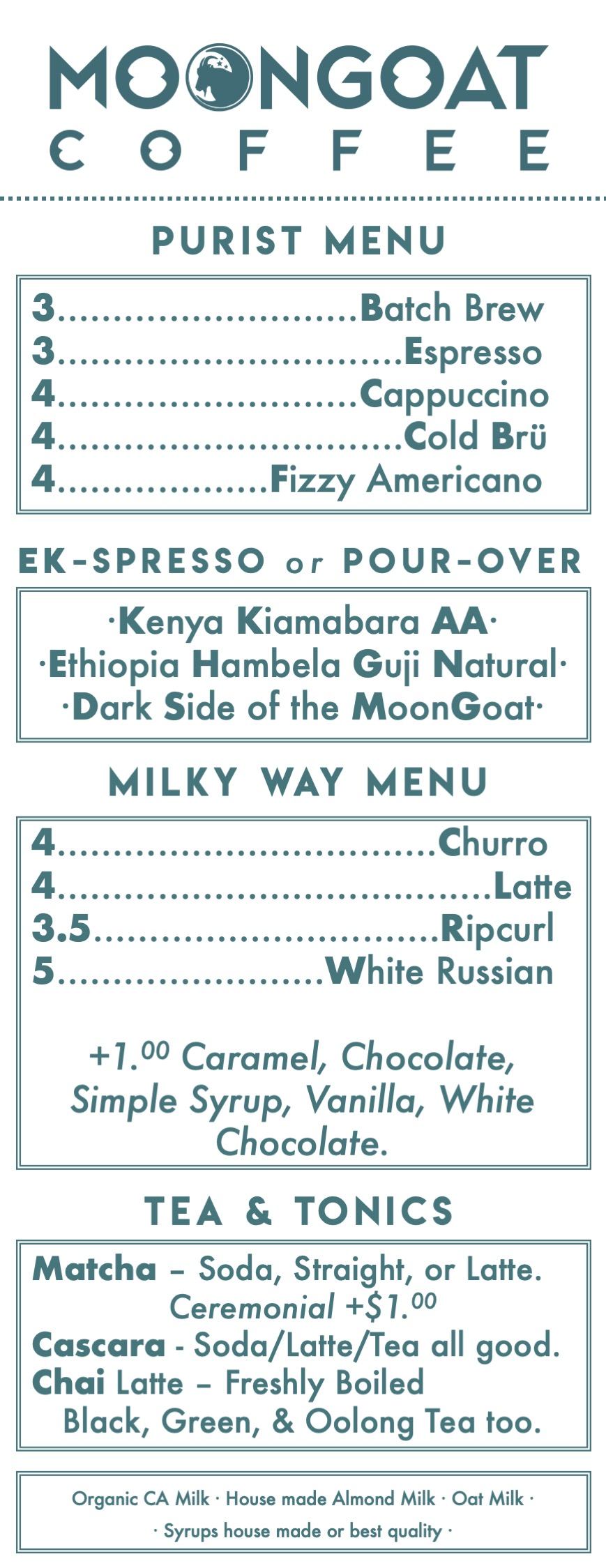 Menu - We approach our menu with a few simple principles in mind. Quality and approachability. We will keep it fresh and seasonal, but for now this is what we serve in the roastery.