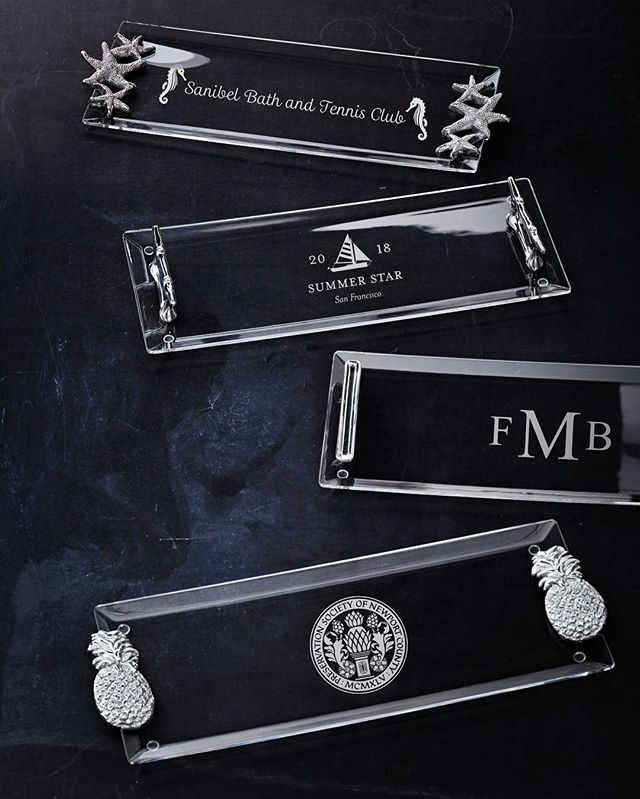 New...Super Chic - Exquisitely crafted thermal formed acrylic trays. Perfect for today's world! Corporate and Club Logos are perfect on this new collection. #logo #golfgifts #corporategifts #chicgifts #brandedgifts #customizedgifts #countryclub #countryclublife #corporateevents #corporateevent #corporateeventplanner #workinggoodsmariposa